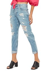 Topshop Petite Women's Moto Hayden Super Ripped Boyfriend Jeans Light Denim