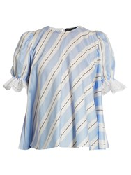 Anna October Puff Sleeve Striped Cotton Top Blue White