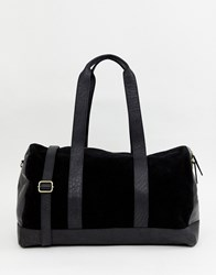 Urbancode Holdall Bag In Leather And Suede Mix Black