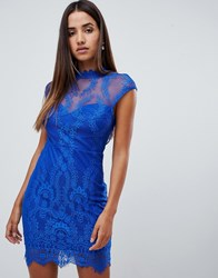 Love Triangle Lace High Neck Open Back Bodycon Dress In Cobalt Blue