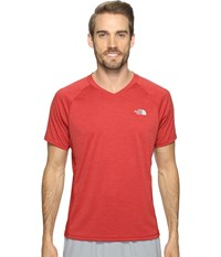 The North Face Ambition V Neck Cardinal Red Heather Cardinal Red Men's T Shirt