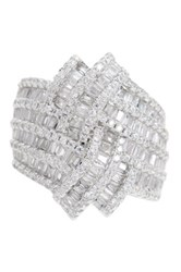 Sterling Silver Baguette Cut And Round Cut Cz Love Knot Ring White