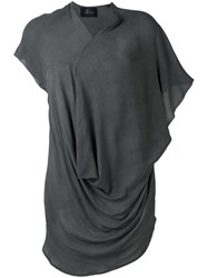 Lost And Found Ria Dunn Draped Silk Blouse Grey