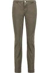 7 For All Mankind Roxanne Mid Rise Slim Leg Jeans Green