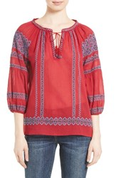 Joie Women's Gauge Embroidered Peasant Top Regal Red