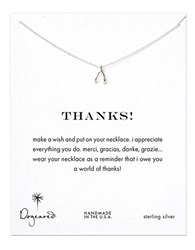 Dogeared Sterling Silver Thanks Wishbone Necklace