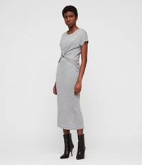 Allsaints Paloma Drape Dress Grey Marl