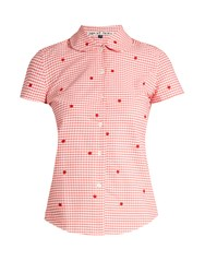 Jupe By Jackie Chur Floral Embroidered Gingham Cotton Shirt