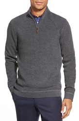 Men's Ted Baker London Ribbed Quarter Zip Pullover Charcoal