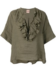 Nude Ruffled Neck Blouse Green