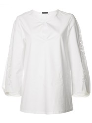 Josie Natori Cropped Sleeves Blouse White