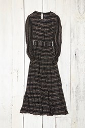 Free People Womens Vintage Gold And Black Sheer Dress