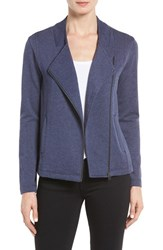 Caslonr Women's Caslon Stripe Moto Jacket Heather Navy Peacoat