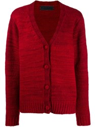 The Elder Statesman Knitted Cashmere Cardigan Red