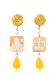 Anna E Alex Frog And Crown Cameo Earrings