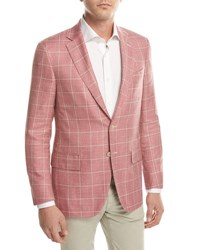 Isaia Windowpane Check Two Button Sport Coat Pink Beige