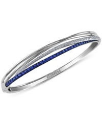 Effy Collection Royal Bleu By Effy Sapphire 1 1 10 Ct. T.W. And Diamond 1 3 Ct. T.W. Bangle Bracelet In 14K White Gold
