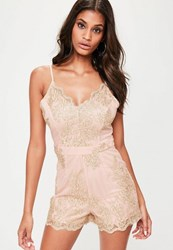 Missguided Nude Metallic Strappy Mesh Playsuit Beige