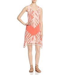 Red Haute Fringed Tie Dye Dress Coral