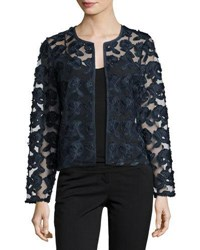 Neiman Marcus Floral Embroidered Short Jacket Navy