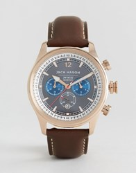 Jack Mason Nautical Chronograph Leather Watch In Brown 42Mm Brown
