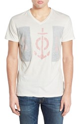 Men's Sol Angeles 'Blockade' Reverse Print Graphic V Neck T Shirt D White