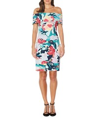 Laundry By Shelli Segal Abstract Print Off The Shoulder Dress Peacoat