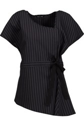 Marissa Webb Elena Wrap Effect Pinstriped Wool Blend Top Midnight Blue