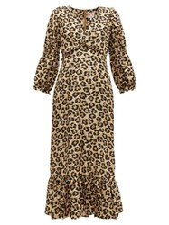 Shrimps Rosemary Leopard Print Silk Dress Leopard
