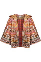Camilla Quilted Printed Cotton Hooded Jacket Orange