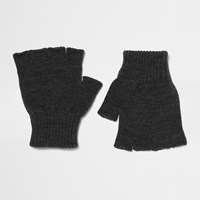River Island Mensdark Grey Knit Fingerless Gloves