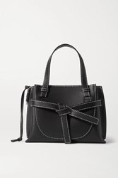 Loewe Gate Mini Topstiched Leather Tote Black