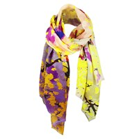 Unpaired Whisper Yellow Silk Crepe Long Scarf