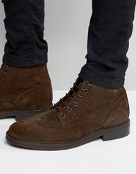Asos Brogue Boots In Brown Leather With Heavy Sole Brown