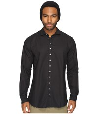 Publish Xander Premium Slubbed Rew Hem Button Up Black Men's Long Sleeve Button Up
