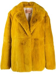 Yves Salomon Single Breasted Coat Yellow