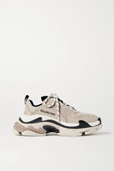 Balenciaga Triple S Logo Embroidered Leather And Mesh Sneakers Beige