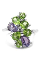 Olivia Leone Sterling Silver Genuine Amethyst And Peridot Ring Purple