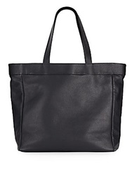 Saks Fifth Avenue Made In Italy Reversible Leather And Nylon Tote Navy