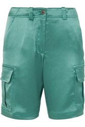 Sies Marjan Elias Crinkled Satin Cargo Shorts Green