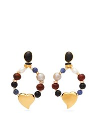 Lizzie Fortunato Candy Heart Multi Stone Earrings Multi