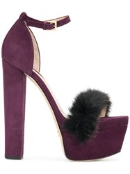 Elie Saab Opera Platform Sandals Leather Rabbit Fur Suede Pink Purple