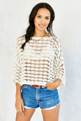 Ecote Open Knit Grid Sweater Ivory