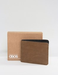 Asos Wallet In Taupe Faux Leather Taupe Grey