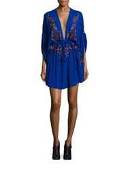 Free People Pineapple Embroidered V Neck Dress Sapphire