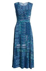 Chaus Patchwork Waves Ruched Stretch Jersey Dress Evening Navy