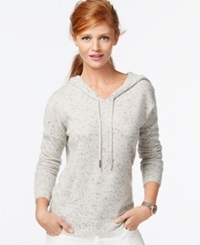 Charter Club Petite Cashmere Drawstring Hoodie Only At Macy's Heather Crystal