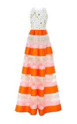 Delpozo Striped Sleeveless Jumpsuit White Orange Pink