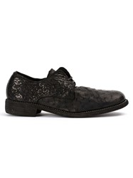 Guidi Textured Derby Shoes Black