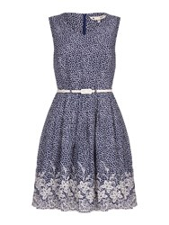 Yumi Embroidered Hem Belted Dress Navy
